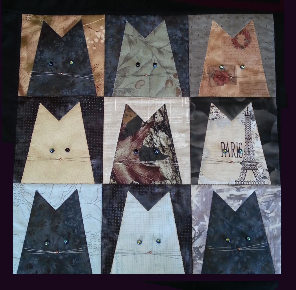 Gray cats quilt