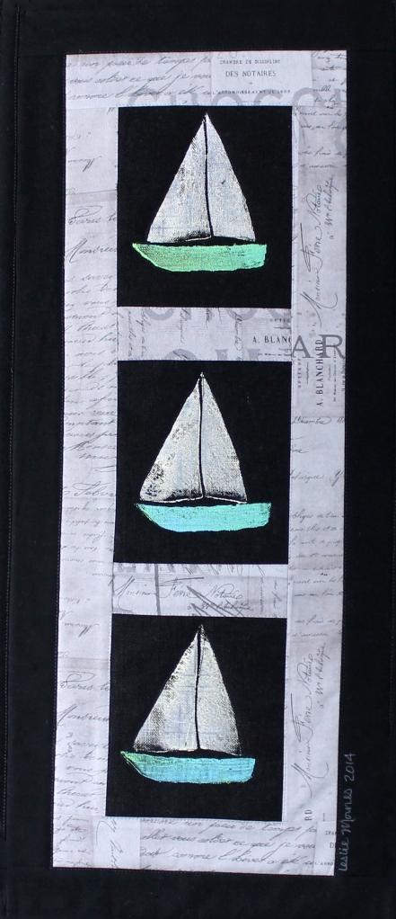 Sailboats Gray Script